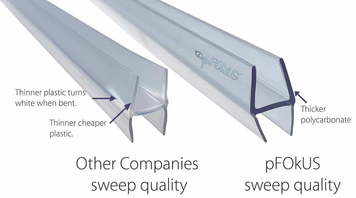 Other Companies Sweeps vs pFOkUS Shower Door Sweeps seals