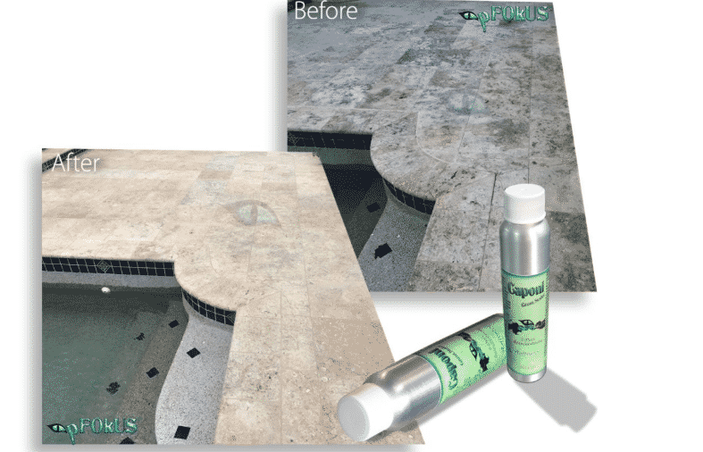 Before and After Images of Swimming Pool Travertine Coping Tiles