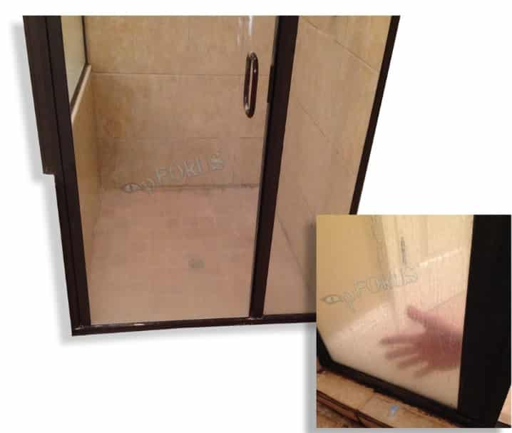 Before and After Image of Glass Door which is Cleaned with Shower Door Cleaner