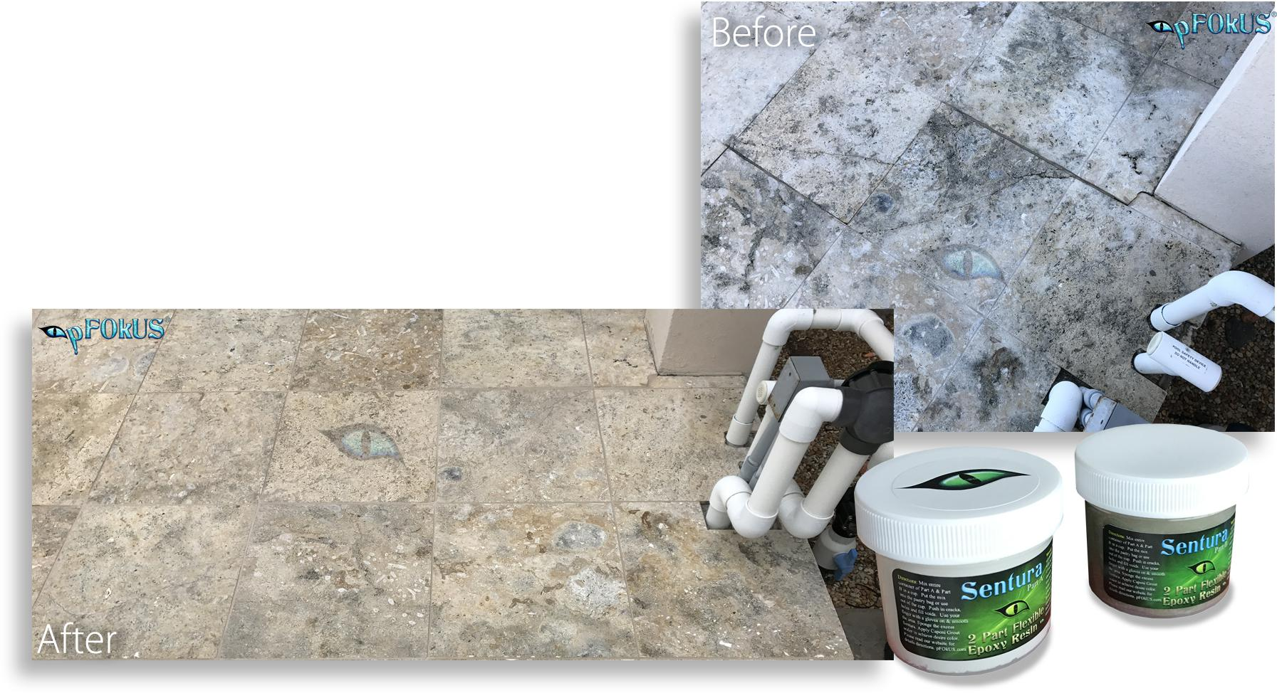 Cracked Grout and Travertine Stone Repair with a Powerful Adhesive