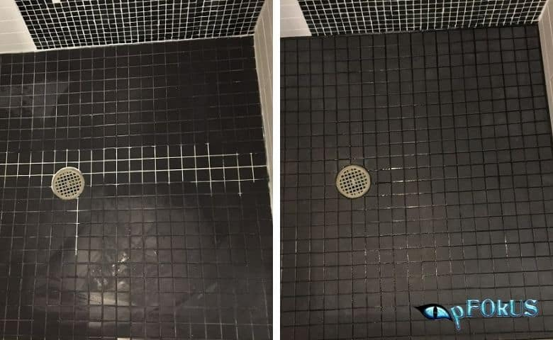 Efflorescence covered tile and grout in showers and pool areas - Essential Cleaning Products